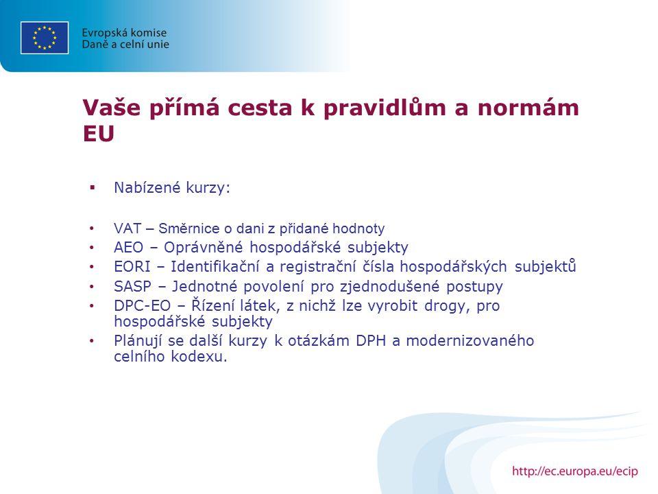  Nabízené kurzy: VAT – Směrnice o dani z přidané hodnoty AEO – Oprávněné hospodářské subjekty EORI – Identifikační a registrační čísla hospodářských