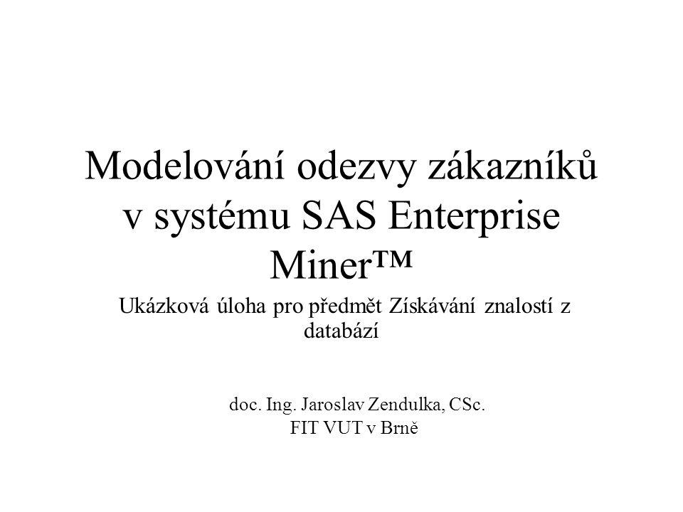 Modelování odezvy zákazníků v systému SAS Enterprise Miner™ Ukázková úloha pro předmět Získávání znalostí z databází doc. Ing. Jaroslav Zendulka, CSc.