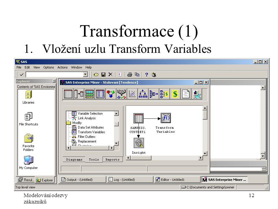 Modelování odezvy zákazníků 12 Transformace (1) 1.Vložení uzlu Transform Variables