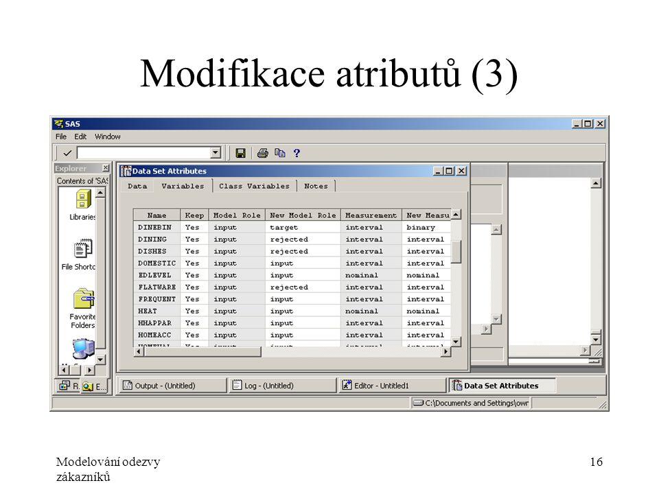 Modelování odezvy zákazníků 16 Modifikace atributů (3)
