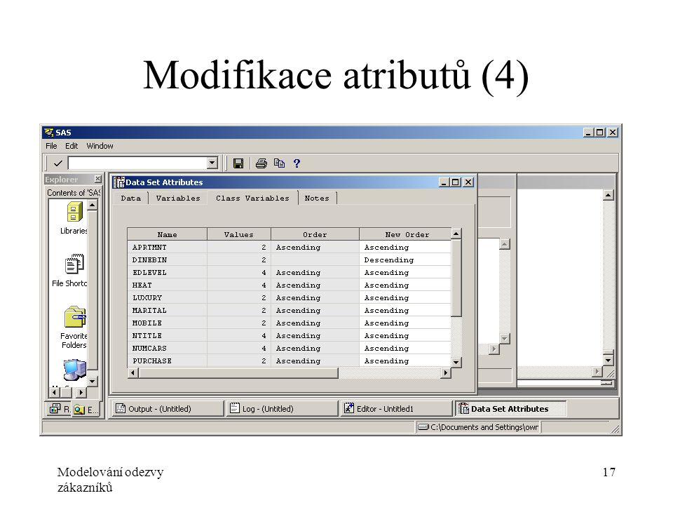 Modelování odezvy zákazníků 17 Modifikace atributů (4)