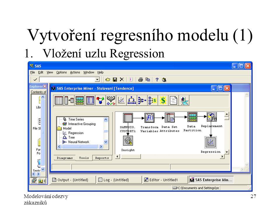 Modelování odezvy zákazníků 27 Vytvoření regresního modelu (1) 1.Vložení uzlu Regression