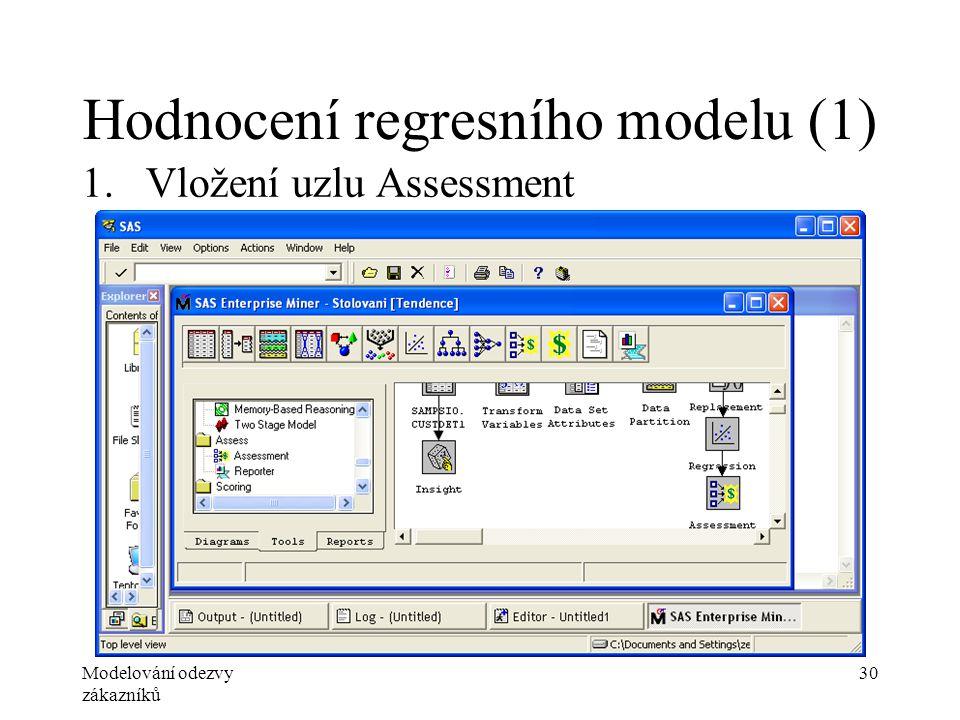 Modelování odezvy zákazníků 30 Hodnocení regresního modelu (1) 1.Vložení uzlu Assessment