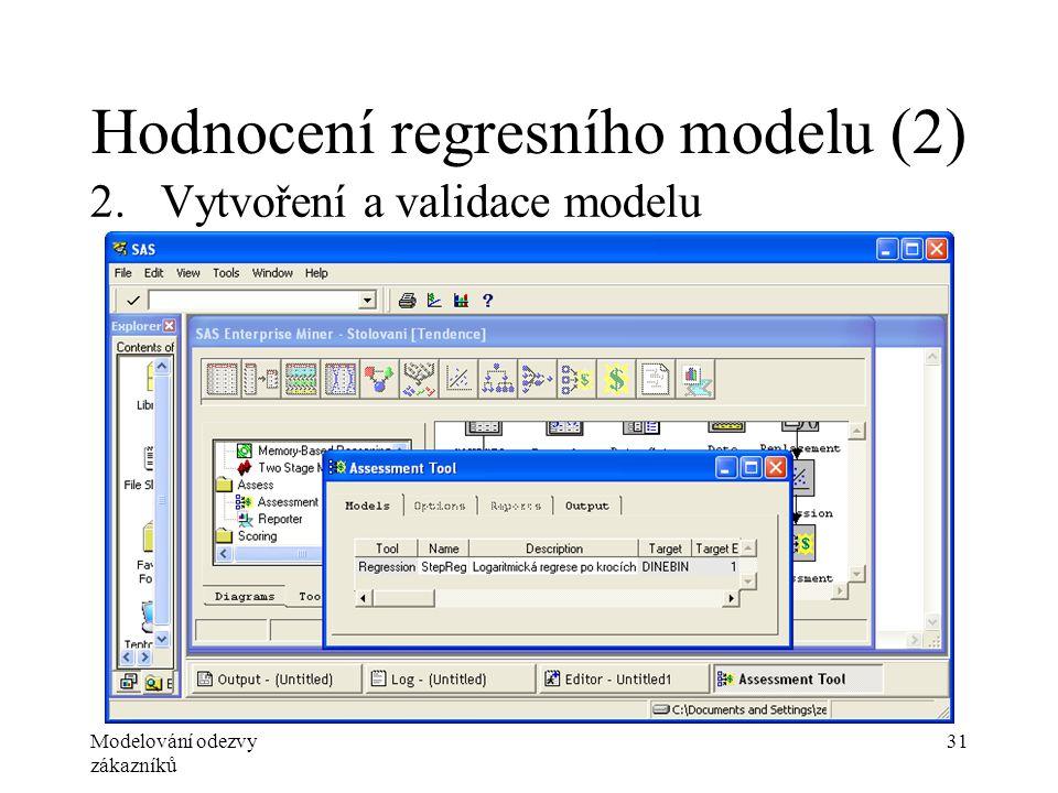 Modelování odezvy zákazníků 31 Hodnocení regresního modelu (2) 2.Vytvoření a validace modelu