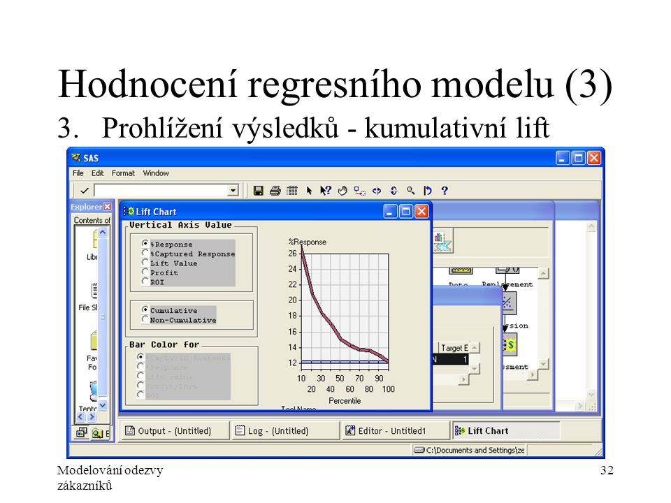 Modelování odezvy zákazníků 32 Hodnocení regresního modelu (3) 3.Prohlížení výsledků - kumulativní lift