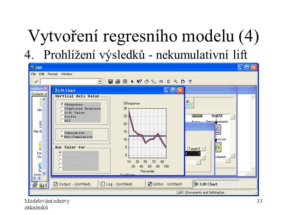 Modelování odezvy zákazníků 33 Vytvoření regresního modelu (4) 4.Prohlížení výsledků - nekumulativní lift