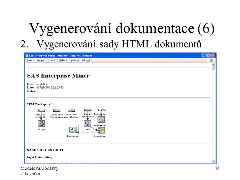 Modelování odezvy zákazníků 44 Vygenerování dokumentace (6) 2.Vygenerování sady HTML dokumentů