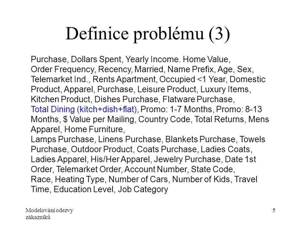 Modelování odezvy zákazníků 5 Definice problému (3) Purchase, Dollars Spent, Yearly Income. Home Value, Order Frequency, Recency, Married, Name Prefix