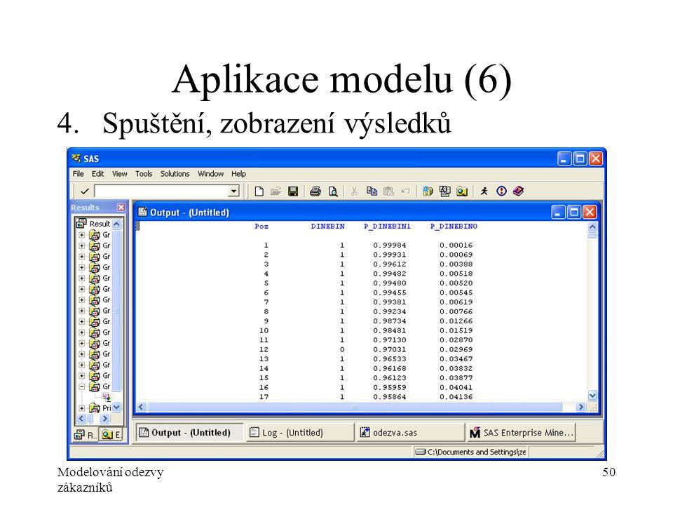 Modelování odezvy zákazníků 50 Aplikace modelu (6) 4.Spuštění, zobrazení výsledků