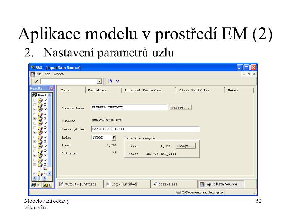 Modelování odezvy zákazníků 52 Aplikace modelu v prostředí EM (2) 2.Nastavení parametrů uzlu