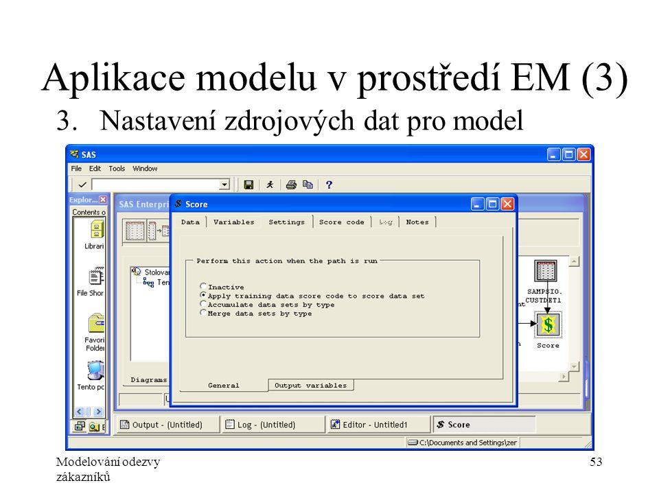 Modelování odezvy zákazníků 53 Aplikace modelu v prostředí EM (3) 3.Nastavení zdrojových dat pro model