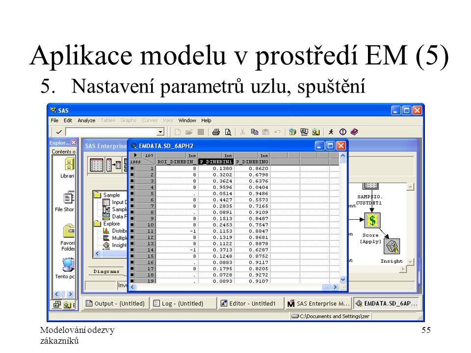 Modelování odezvy zákazníků 55 Aplikace modelu v prostředí EM (5) 5.Nastavení parametrů uzlu, spuštění