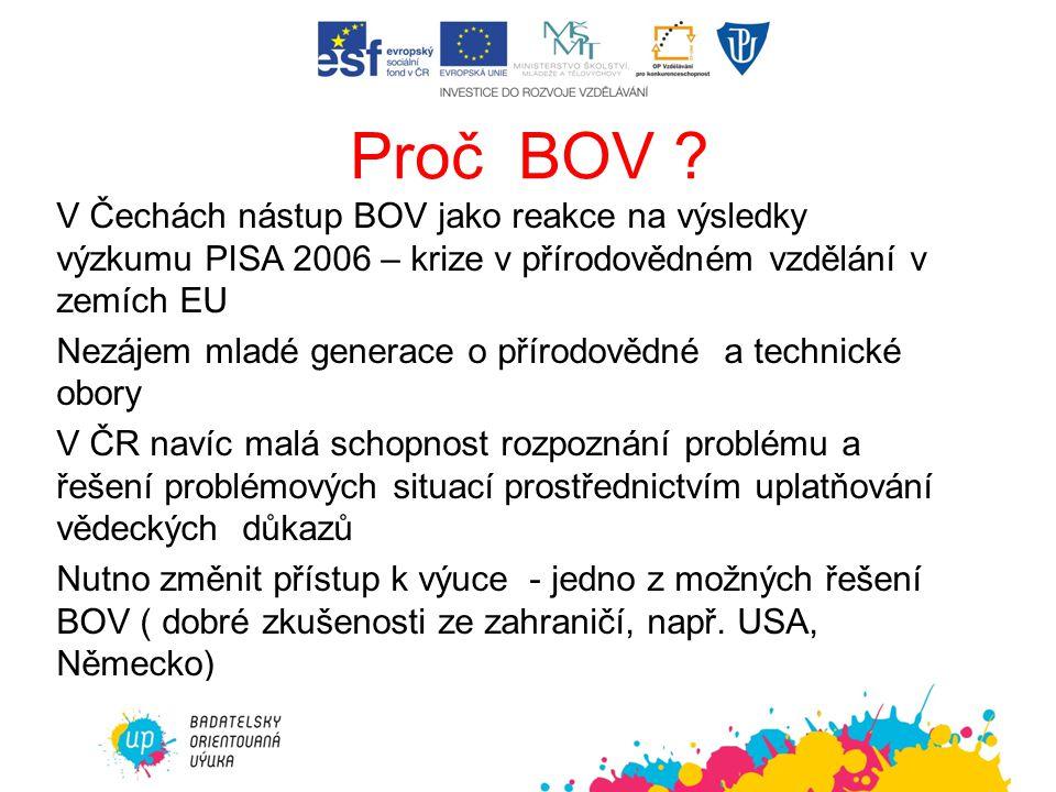 Proč BOV ? V Čechách nástup BOV jako reakce na výsledky výzkumu PISA 2006 – krize v přírodovědném vzdělání v zemích EU Nezájem mladé generace o přírod