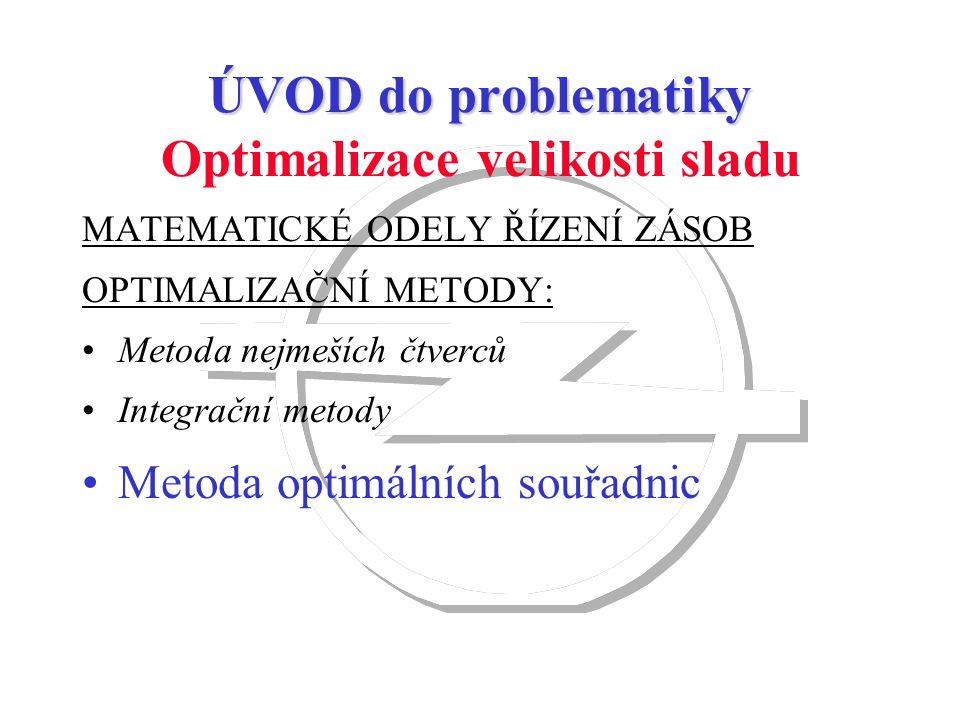 MATEMATICKÉ ODELY ŘÍZENÍ ZÁSOB OPTIMALIZAČNÍ METODY: Metoda nejmeších čtverců Integrační metody Metoda optimálních souřadnic