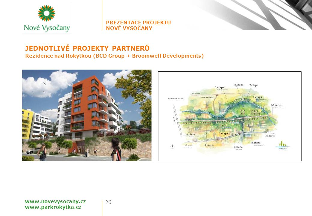 PREZENTACE PROJEKTU NOVÉ VYSOČANY 26 www.novevysocany.cz www.parkrokytka.cz Rezidence nad Rokytkou (BCD Group + Broomwell Developments) JEDNOTLIVÉ PRO