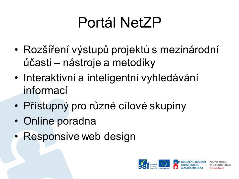 Portál NetZP Rozšíření výstupů projektů s mezinárodní účasti – nástroje a metodiky Interaktivní a inteligentní vyhledávání informací Přístupný pro různé cílové skupiny Online poradna Responsive web design
