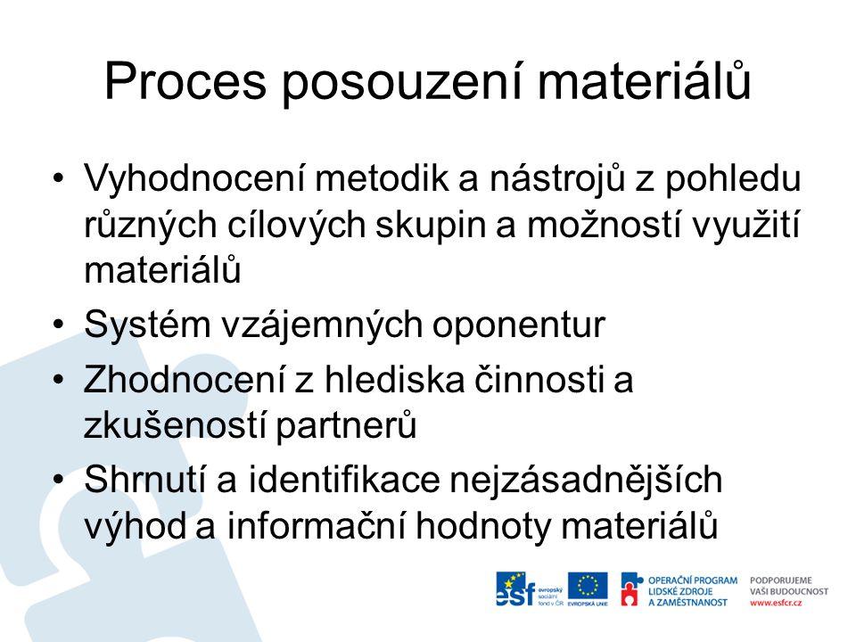 Proces posouzení materiálů Vyhodnocení metodik a nástrojů z pohledu různých cílových skupin a možností využití materiálů Systém vzájemných oponentur Z