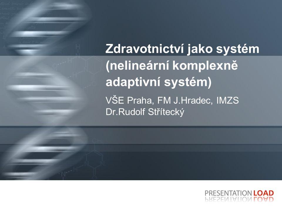 Zdravotnictví jako systém (nelineární komplexně adaptivní systém) VŠE Praha, FM J.Hradec, IMZS Dr.Rudolf Střítecký