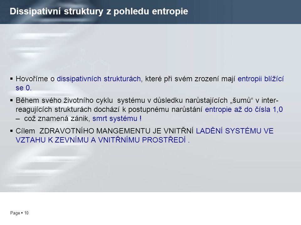 Page  10 Dissipativní struktury z pohledu entropie  Hovoříme o dissipativních strukturách, které při svém zrození mají entropii blížící se 0.  Běhe