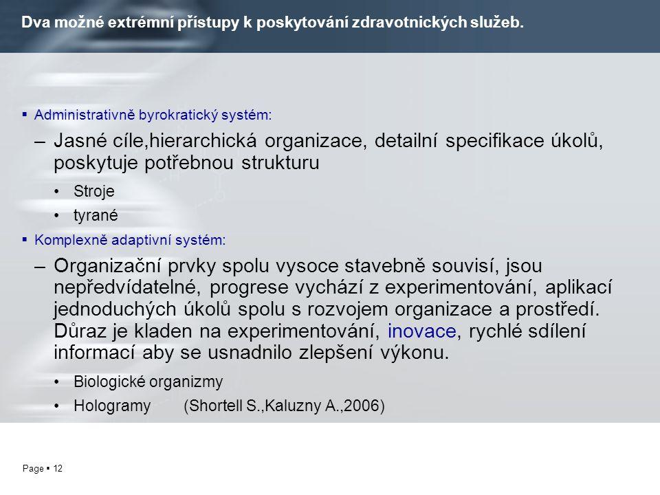 Page  12 Dva možné extrémní přístupy k poskytování zdravotnických služeb.  Administrativně byrokratický systém: –Jasné cíle,hierarchická organizace,