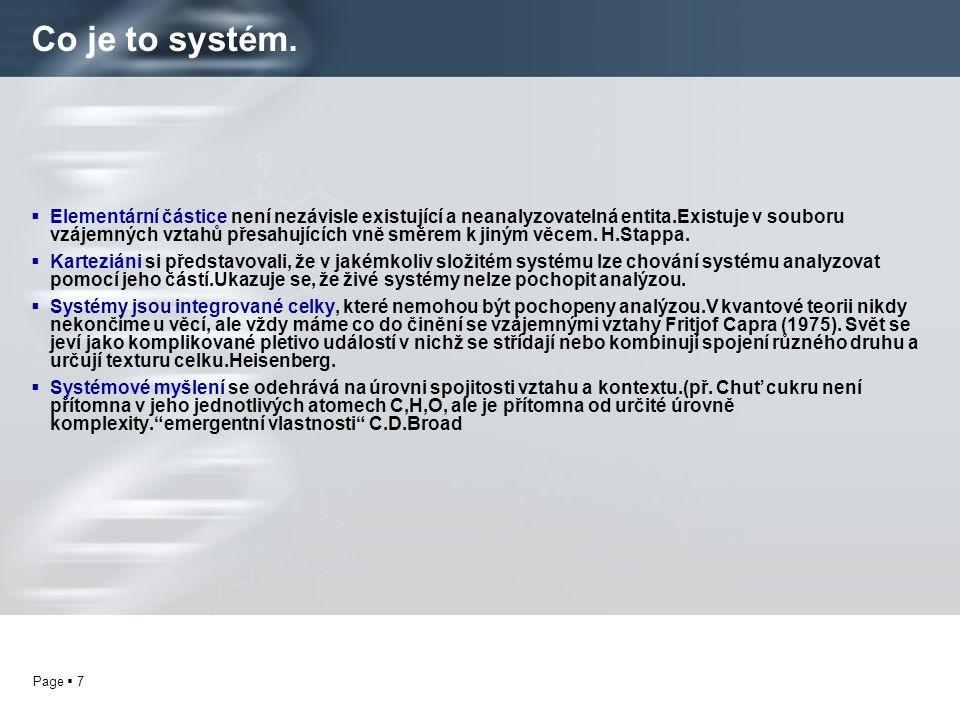 Page  8 Co je to systém. Systém je charakterizován vztahy sítí v sítích.