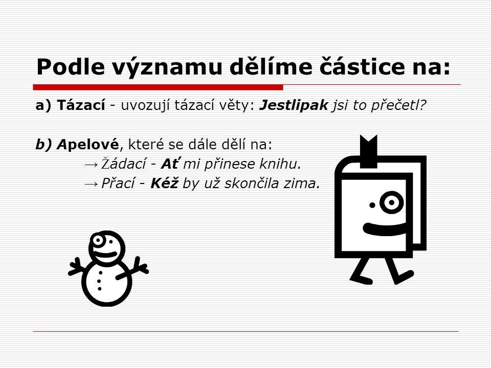 Částice v různých jazycích:  Částice v češtině fungují pouze jako větné částice (modifikují význam celé věty).