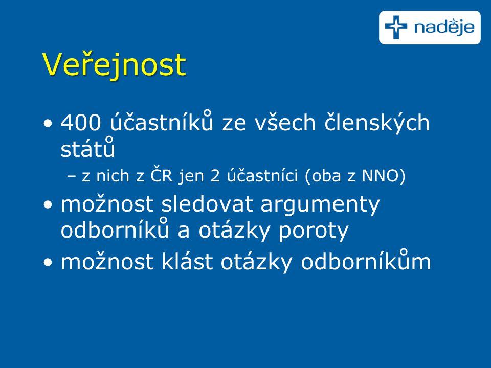 Veřejnost 400 účastníků ze všech členských států –z nich z ČR jen 2 účastníci (oba z NNO) možnost sledovat argumenty odborníků a otázky poroty možnost