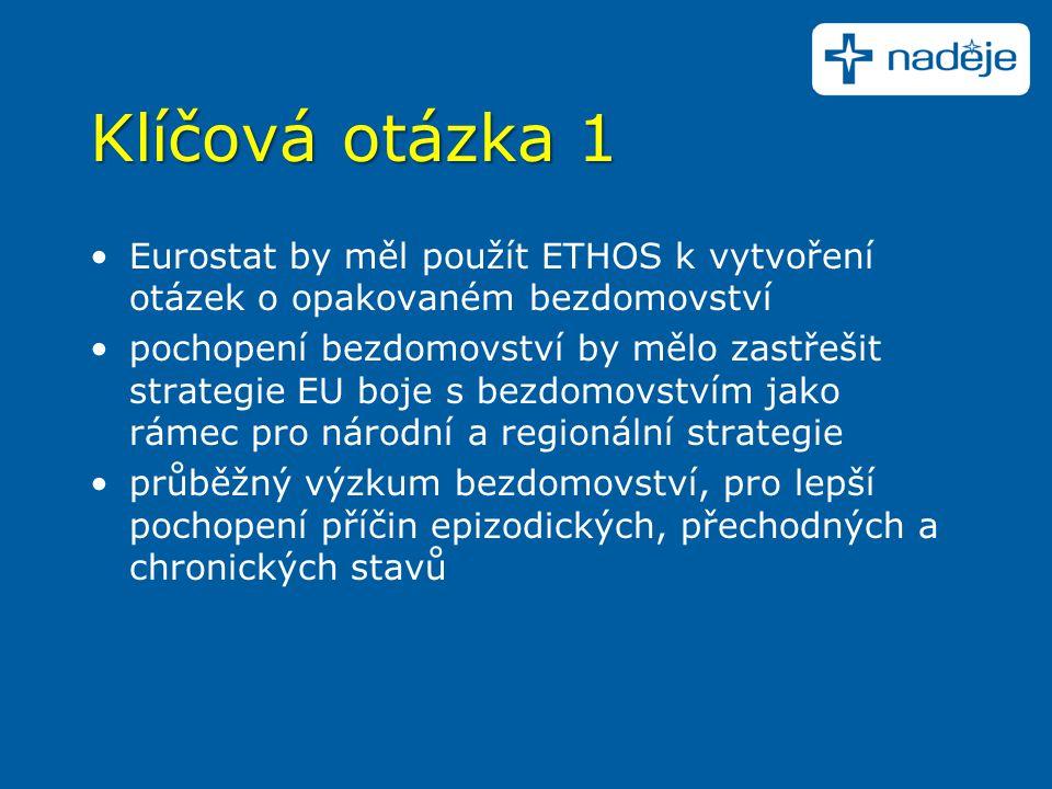 Klíčová otázka 1 Eurostat by měl použít ETHOS k vytvoření otázek o opakovaném bezdomovství pochopení bezdomovství by mělo zastřešit strategie EU boje s bezdomovstvím jako rámec pro národní a regionální strategie průběžný výzkum bezdomovství, pro lepší pochopení příčin epizodických, přechodných a chronických stavů