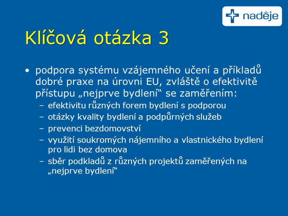 """Klíčová otázka 3 podpora systému vzájemného učení a příkladů dobré praxe na úrovni EU, zvláště o efektivitě přístupu """"nejprve bydlení"""" se zaměřením: –"""