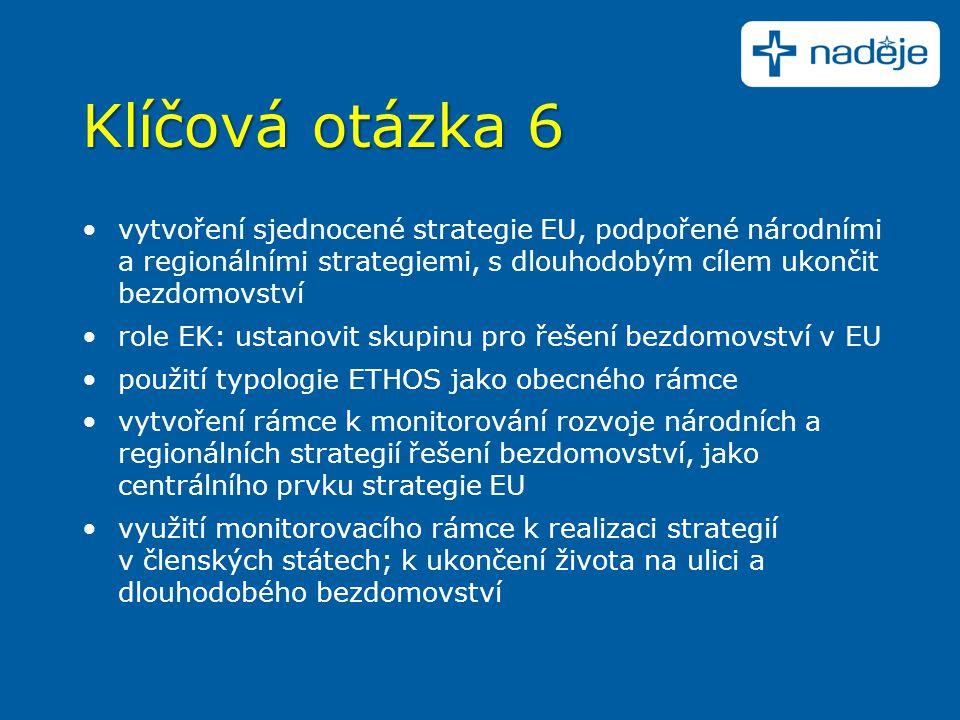 Klíčová otázka 6 vytvoření sjednocené strategie EU, podpořené národními a regionálními strategiemi, s dlouhodobým cílem ukončit bezdomovství role EK: ustanovit skupinu pro řešení bezdomovství v EU použití typologie ETHOS jako obecného rámce vytvoření rámce k monitorování rozvoje národních a regionálních strategií řešení bezdomovství, jako centrálního prvku strategie EU využití monitorovacího rámce k realizaci strategií v členských státech; k ukončení života na ulici a dlouhodobého bezdomovství