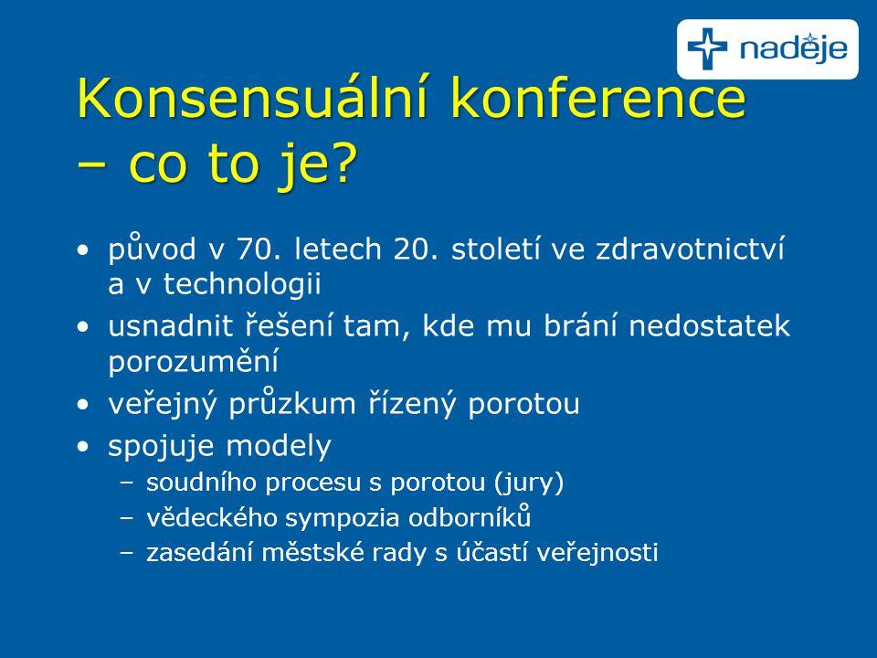 Konsensuální konference – co to je? původ v 70. letech 20. století ve zdravotnictví a v technologii usnadnit řešení tam, kde mu brání nedostatek poroz