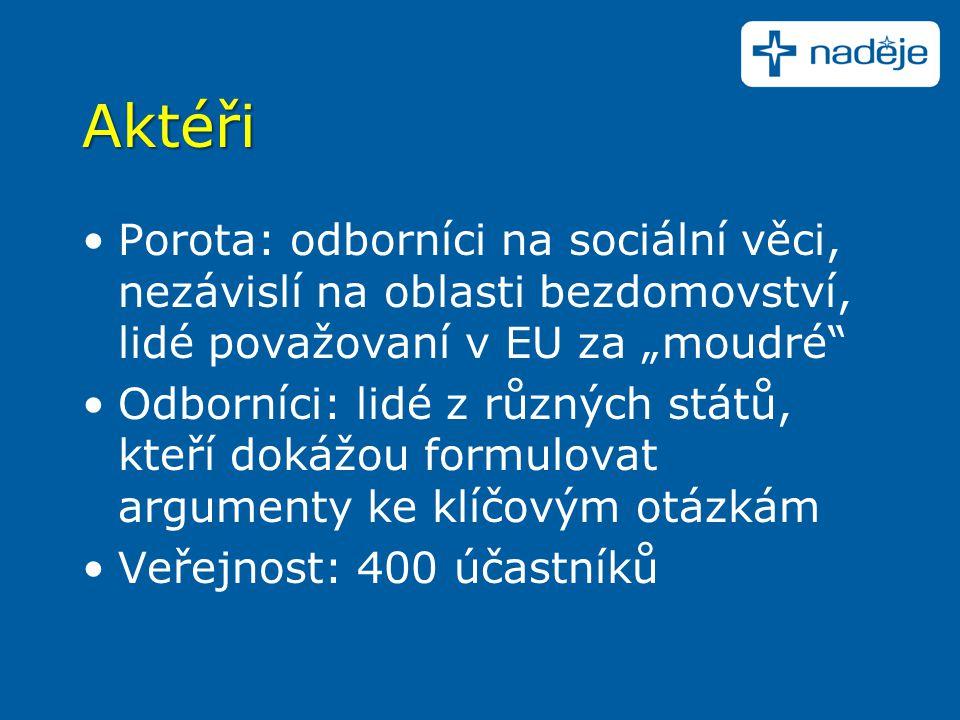 """Aktéři Porota: odborníci na sociální věci, nezávislí na oblasti bezdomovství, lidé považovaní v EU za """"moudré Odborníci: lidé z různých států, kteří dokážou formulovat argumenty ke klíčovým otázkám Veřejnost: 400 účastníků"""