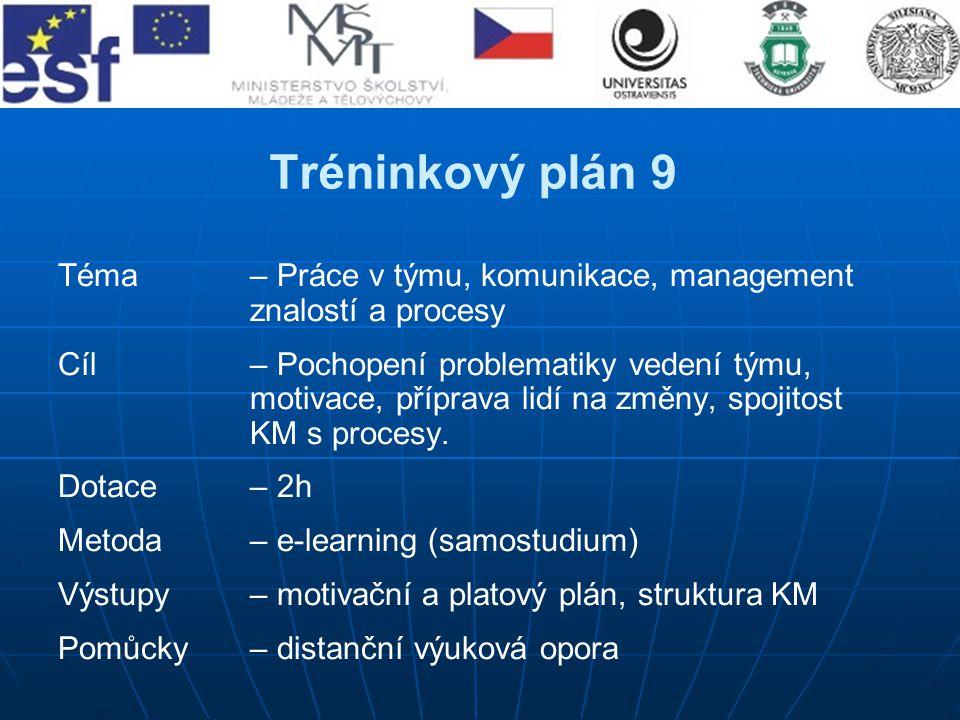 Tréninkový plán 9 Téma– Práce v týmu, komunikace, management znalostí a procesy Cíl – Pochopení problematiky vedení týmu, motivace, příprava lidí na z