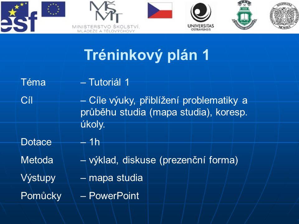 Tréninkový plán 1 Téma– Tutoriál 1 Cíl – Cíle výuky, přiblížení problematiky a průběhu studia (mapa studia), koresp. úkoly. Dotace – 1h Metoda – výkla