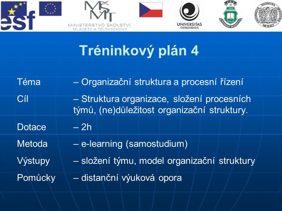 Tréninkový plán 4 Téma– Organizační struktura a procesní řízení Cíl – Struktura organizace, složení procesních týmů, (ne)důležitost organizační strukt