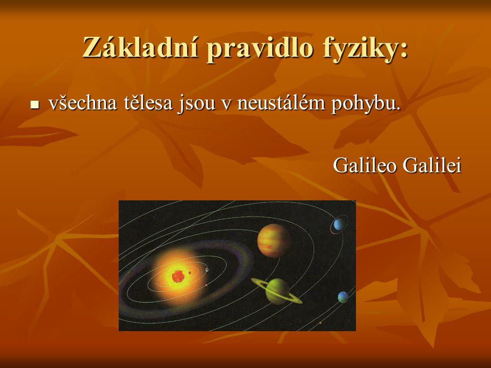 Základní pravidlo fyziky: všechna tělesa jsou v neustálém pohybu.