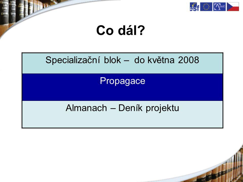 Co dál Specializační blok – do května 2008 Propagace Almanach – Deník projektu