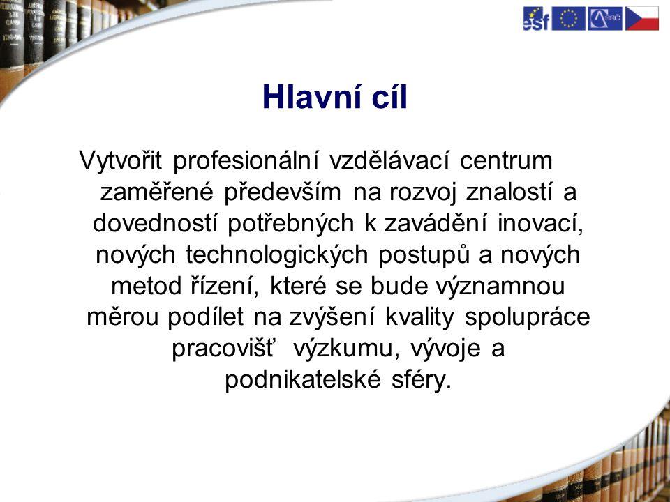 Hlavní cíl Vytvořit profesionální vzdělávací centrum zaměřené především na rozvoj znalostí a dovedností potřebných k zavádění inovací, nových technologických postupů a nových metod řízení, které se bude významnou měrou podílet na zvýšení kvality spolupráce pracovišť výzkumu, vývoje a podnikatelské sféry.