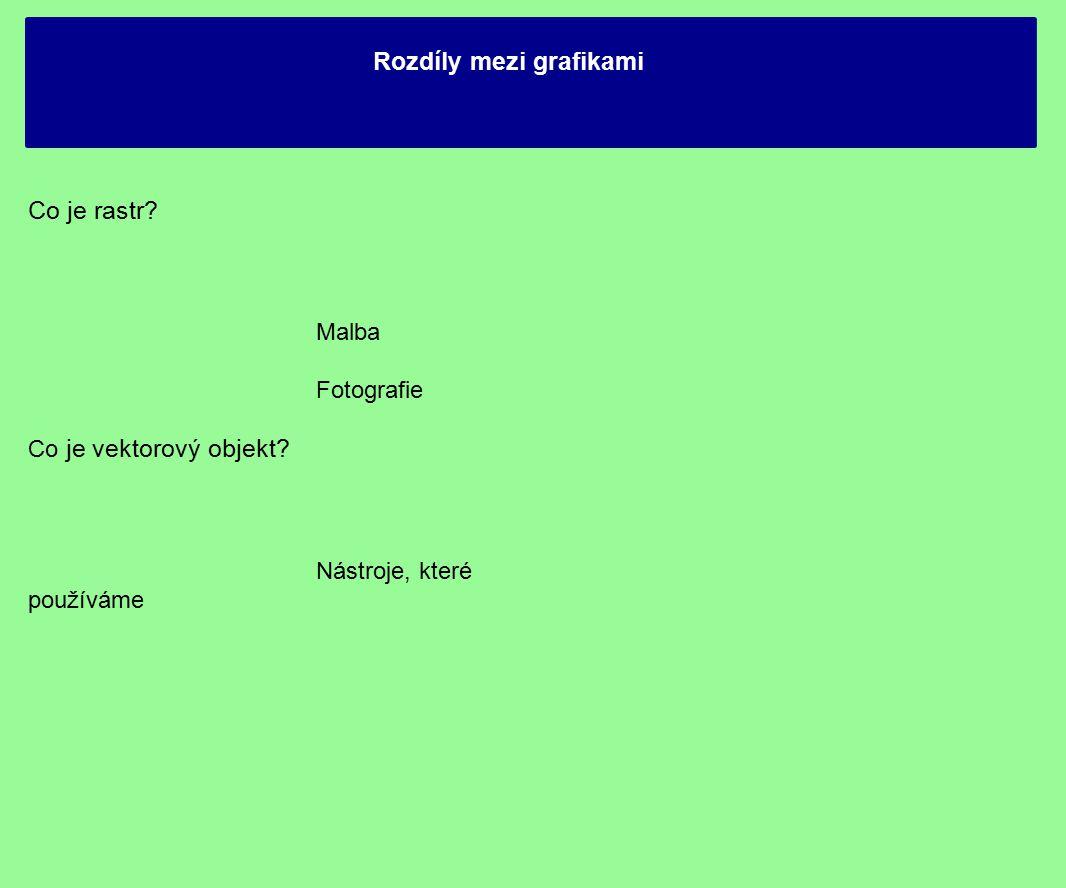 Rozdíly mezi grafikami Co je rastr? Malba Fotografie Co je vektorový objekt? Nástroje, které používáme