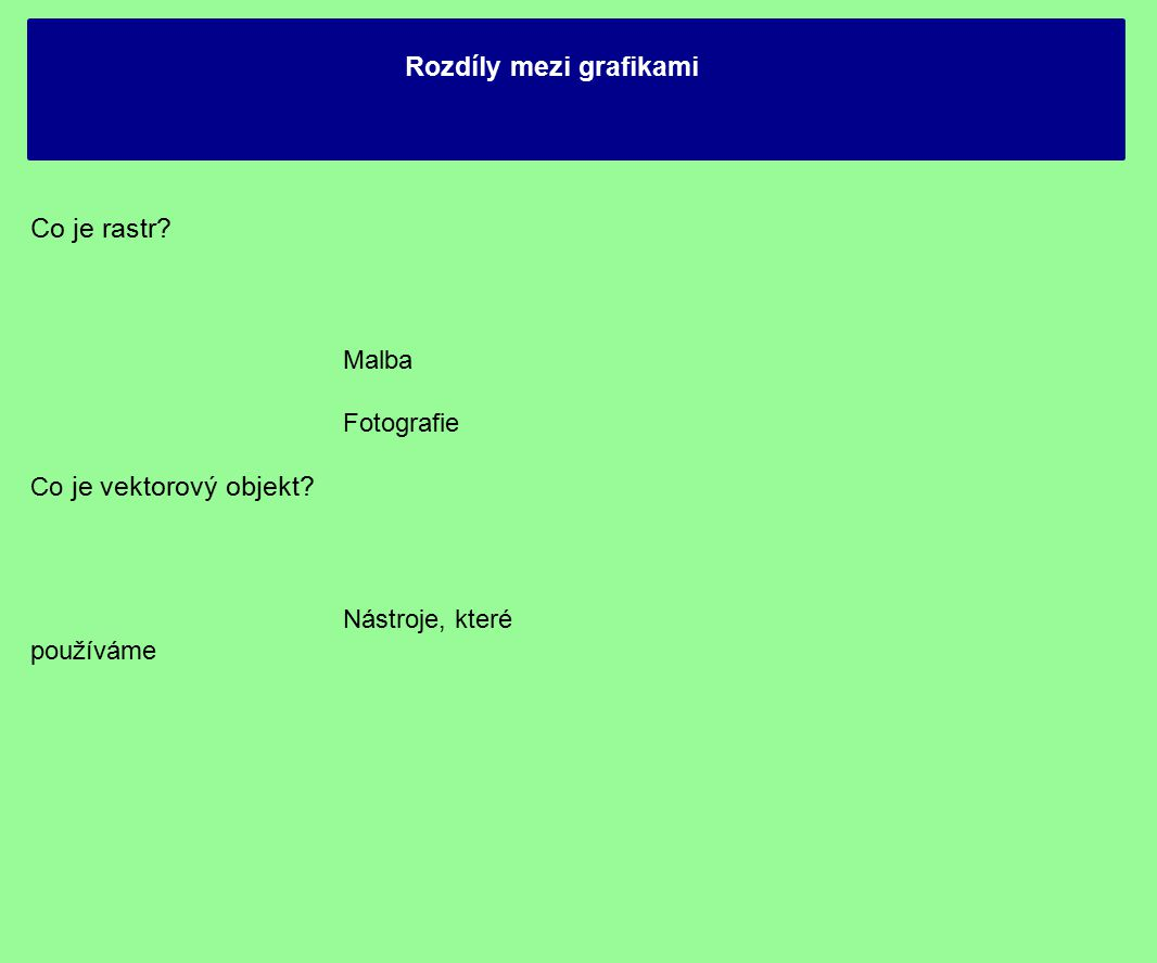 Rozdíly mezi grafikami Co je rastr. Malba Fotografie Co je vektorový objekt.
