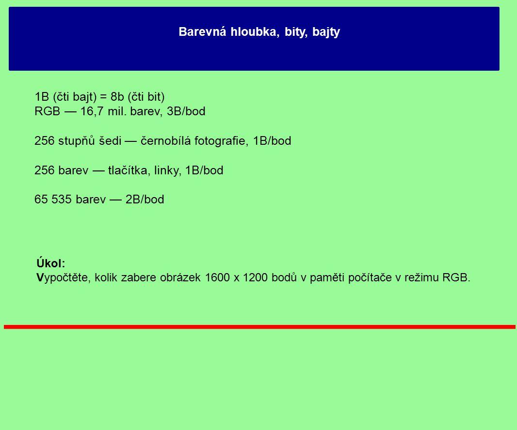 Barevná hloubka, bity, bajty 1B (čti bajt) = 8b (čti bit) RGB — 16,7 mil.