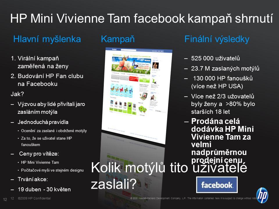©2009 HP Confidential12 ©2009 HP Confidential HP Mini Vivienne Tam facebook kampaň shrnutí Hlavní myšlenkaKampaňFinální výsledky 1.Virální kampaň zaměřená na ženy 2.Budování HP Fan clubu na Facebooku Jak.