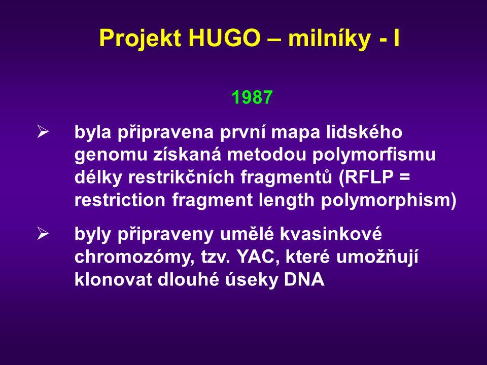 Projekt HUGO – milníky - I 1987  byla připravena první mapa lidského genomu získaná metodou polymorfismu délky restrikčních fragmentů (RFLP = restric