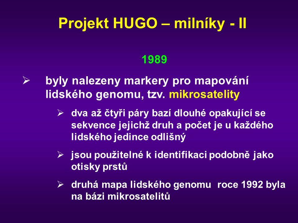 Projekt HUGO – milníky - II 1989  byly nalezeny markery pro mapování lidského genomu, tzv. mikrosatelity  dva až čtyři páry bazí dlouhé opakující se