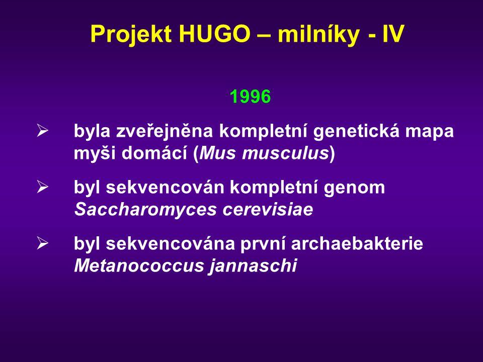 1996  byla zveřejněna kompletní genetická mapa myši domácí (Mus musculus)  byl sekvencován kompletní genom Saccharomyces cerevisiae  byl sekvencová