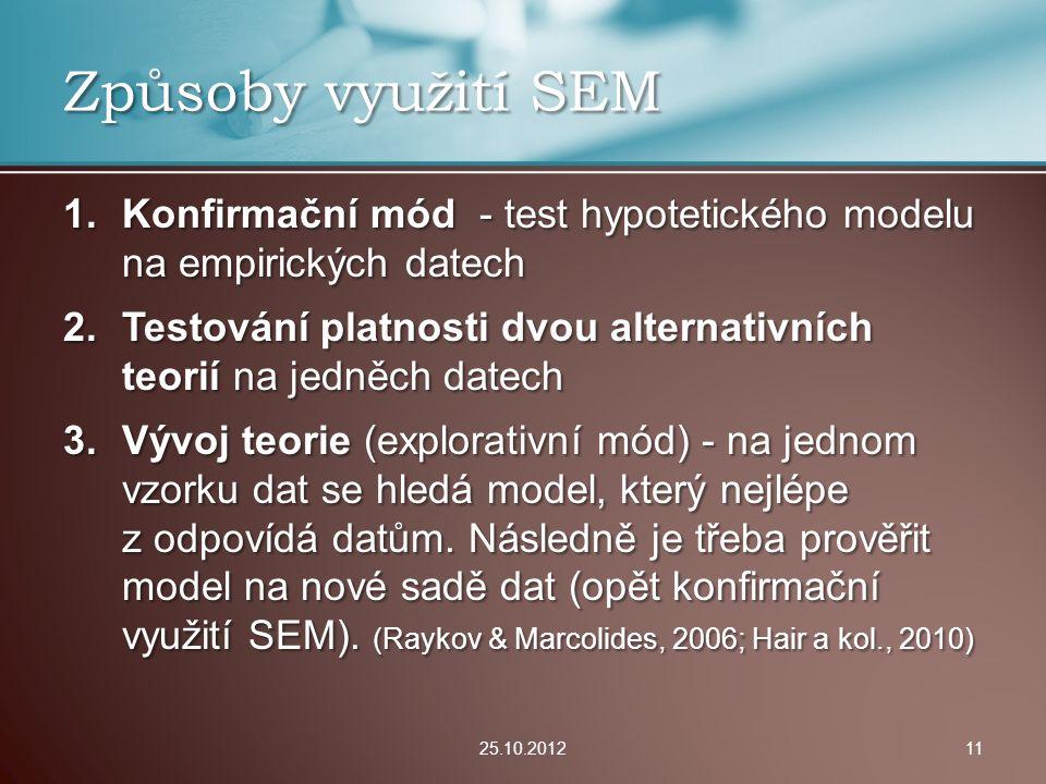 1.Konfirmační mód - test hypotetického modelu na empirických datech 2.Testování platnosti dvou alternativních teorií na jedněch datech 3.Vývoj teorie