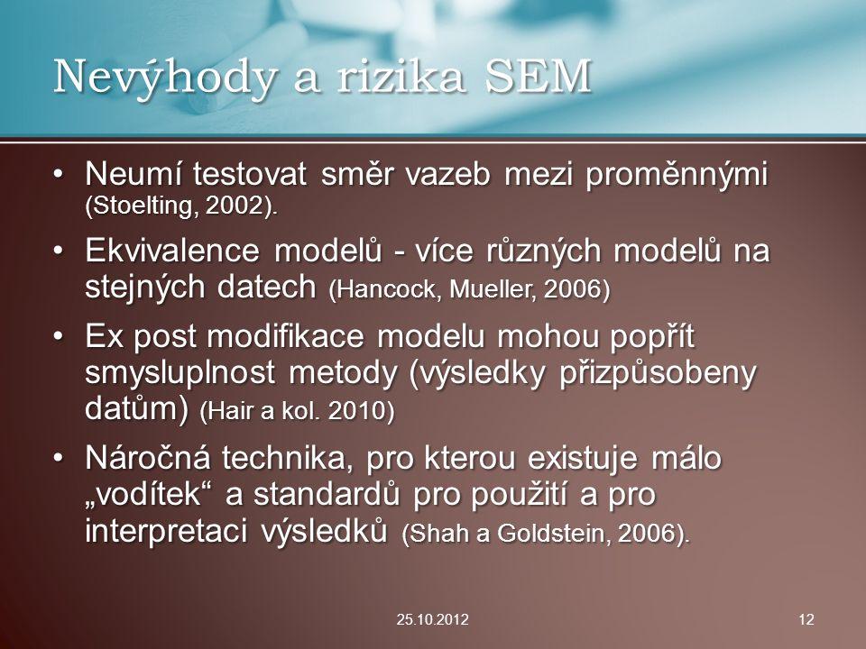 Neumí testovat směr vazeb mezi proměnnými (Stoelting, 2002).Neumí testovat směr vazeb mezi proměnnými (Stoelting, 2002). Ekvivalence modelů - více růz