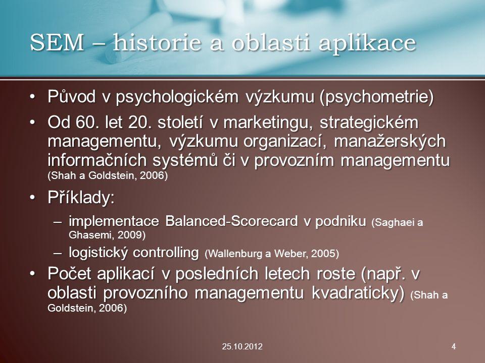 Úspěšnost v recenzním řízení v renomovaném marketingovém časopisu (Babin, Hair a Boles, 2009) : –48 % zaslaných článků využívalo SEM –Statisticky prokázali, že články se SEM jsou hodnoceny lépe (byť ne o mnoho) 25.10.201215 Zhodnocení SEM