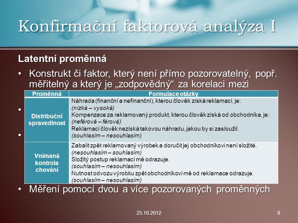 Konfirmační faktorová analýza: Nejedná se o (explorativní) faktorovou analýzu.Nejedná se o (explorativní) faktorovou analýzu.
