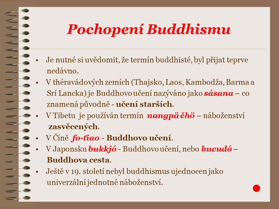 Pochopení Buddhismu Je nutné si uvědomit, že termín buddhisté, byl přijat teprve nedávno.